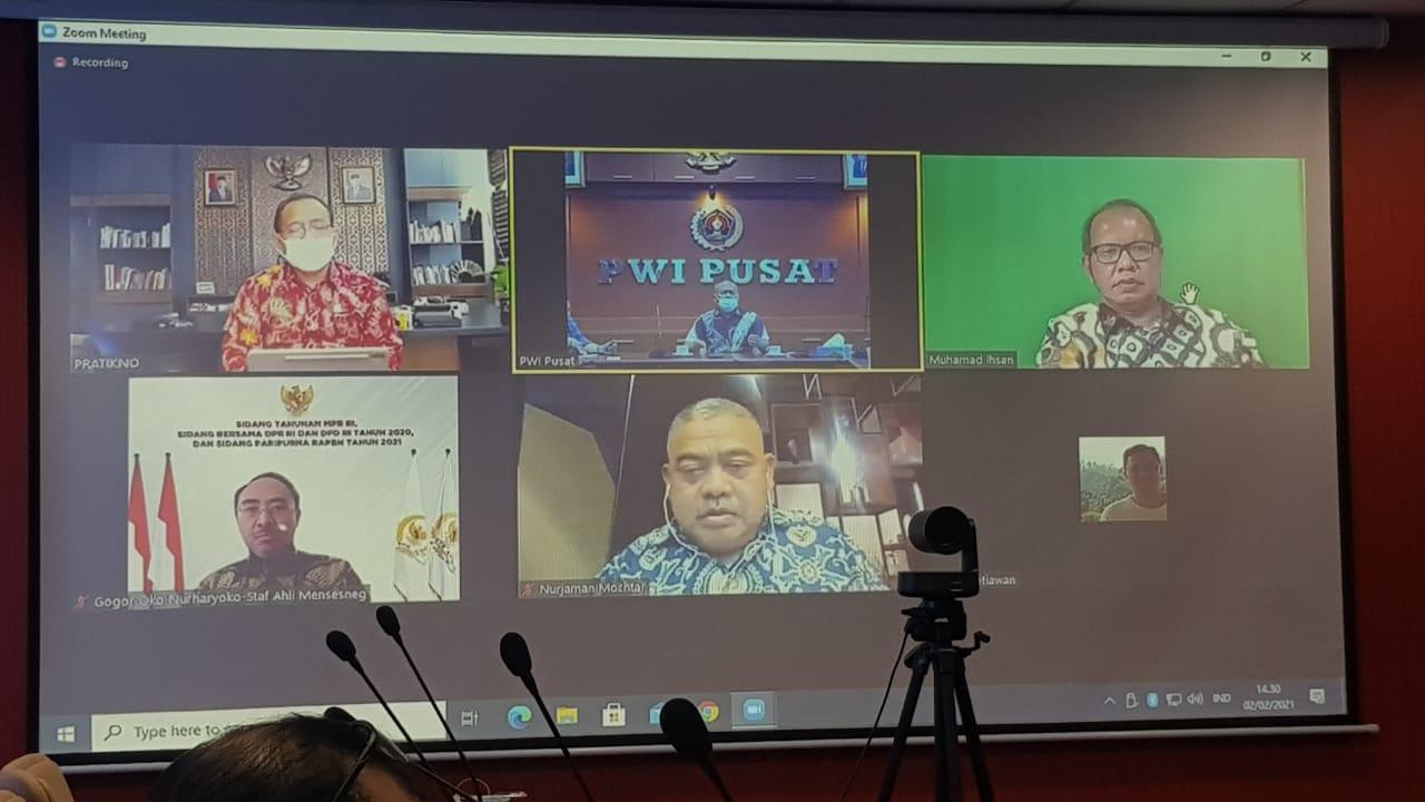 Menteri Sekretaris Negara, Pratikno, ketika menerima Audensi secara virtual Pengurus PWI Pusat dan Panitia Hari Pers Nasional 2021 Selasa, (2/2/2021).
