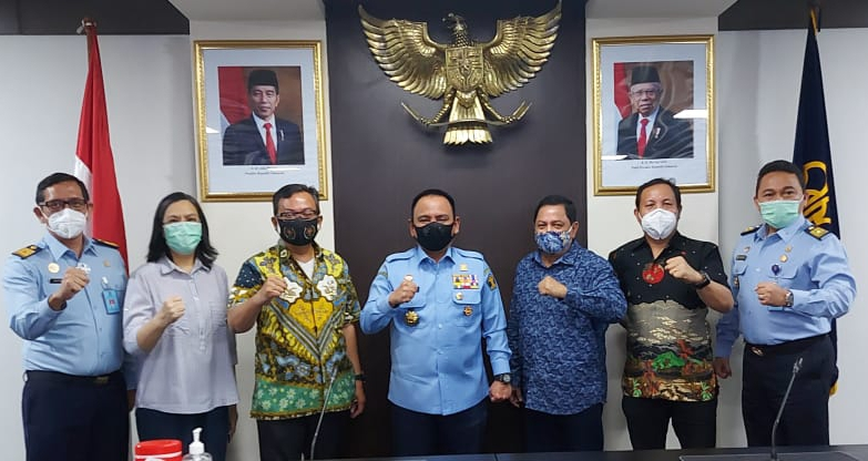 Pengurus Pusat PWI berpose bersama Kementerian Kumham usai gelaran diskusi
