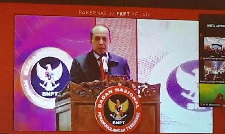 Kepala Badan Nasional Penanggulangan Terorisme (BNPT) RI, Komjen Pol. Dr. Drs. Boy Rafli Amar, M.H. saat memberikan sambutan sebelum membuka secara resmi Rapat Kerja Nasional Forum Koordinasi Pencegahan Terorisme (FKPT) se-Indonesia, di Labuan Bajo – Manggarai Barat NTT, Selasa 2 maret 2021.