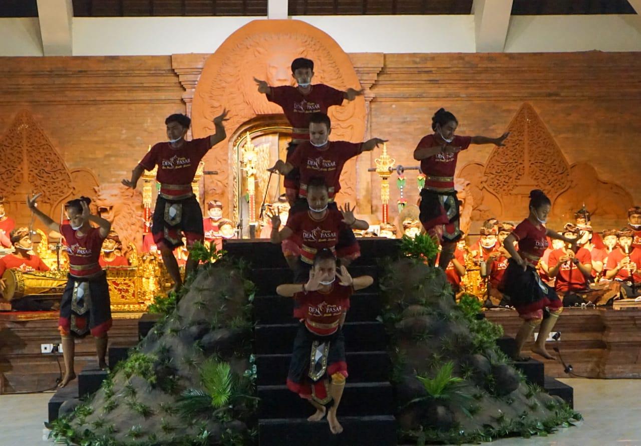 salah satu tarian kreasi anak-anak, diunggulkan oleh Kodya Denpasar di ajang PKB 2021.