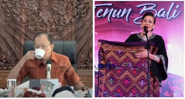 Dari kiri, Gubernur Bali, Wayan Koster dan Ketua Dekranasda Bali, Ny Putri Koster