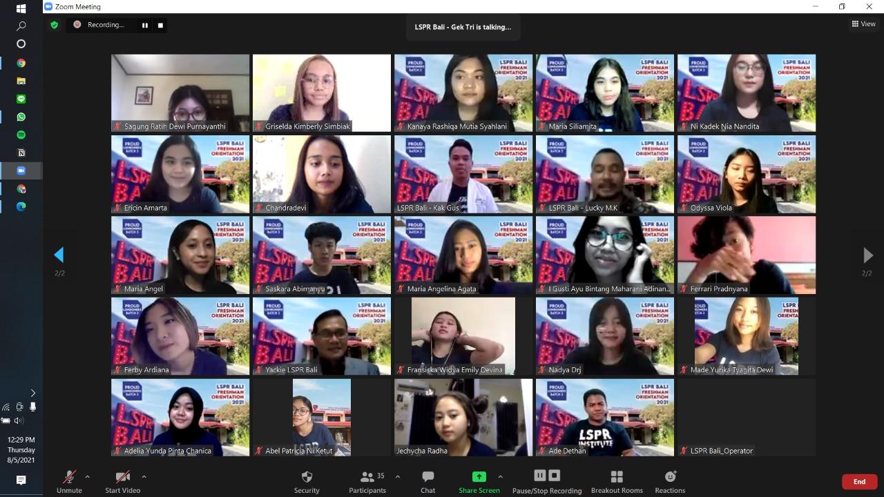 Zoom Meeting Orientasi Mahasiswa Baru LSPR Bali,