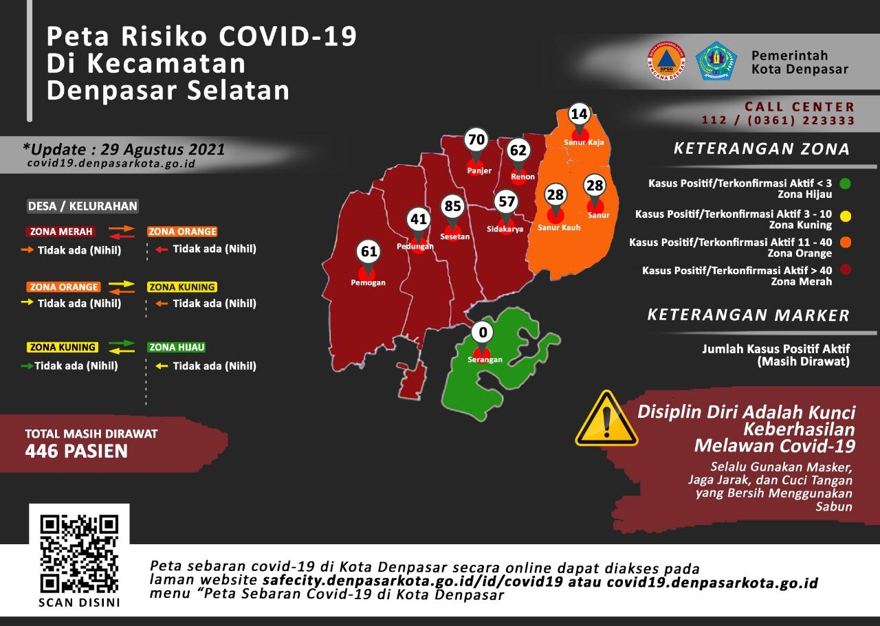 Peta sebaran pandemi covid-19 di Denpasar dengan zon hijau di Desa Serangan