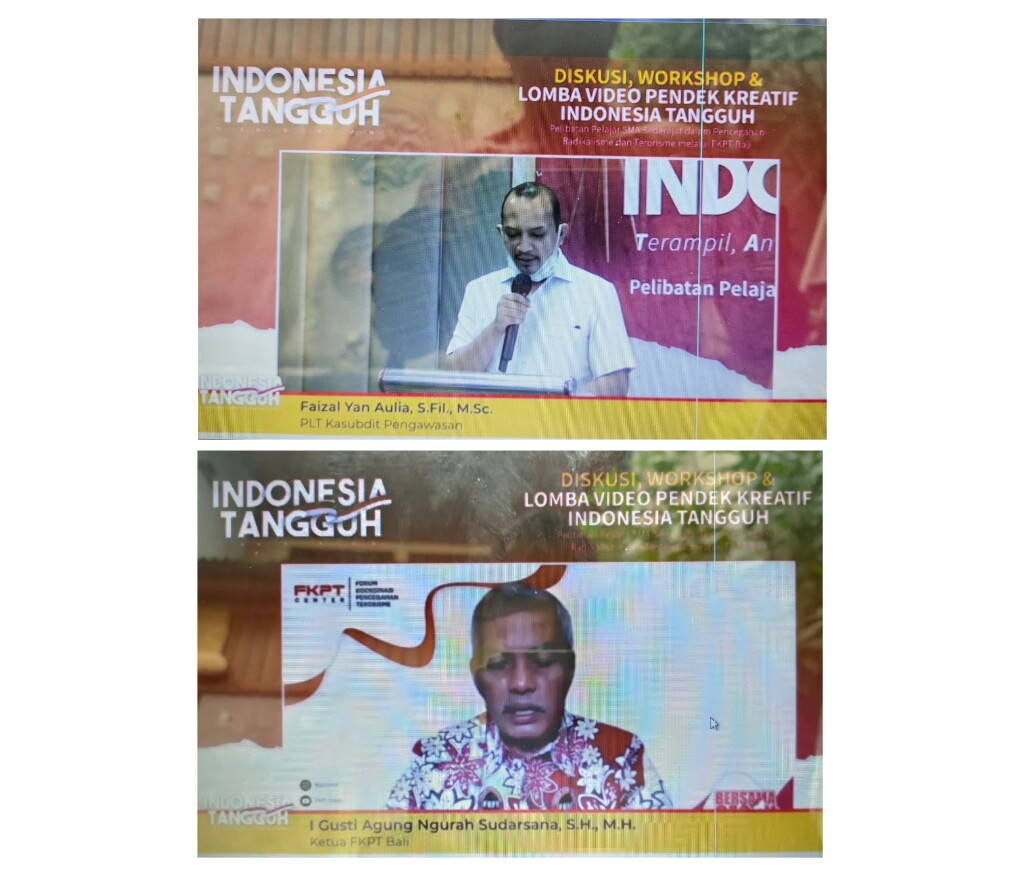 Plt Kasubdit Pengawasan BNPT RI, Faizal Yan Aulia, S.Fil, M.Sc dan Ketua FKPT Bali, I GustAgung Ngurah Sudarsana, SH, MH. (FOTO/Screeshot)